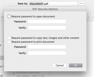 PDF Security Options Mac