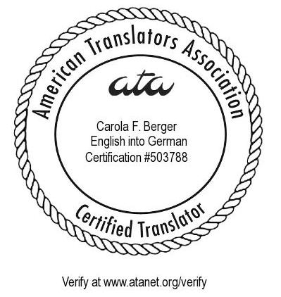 ATA-zertifizierte Übersetzerin Englisch Deutsch