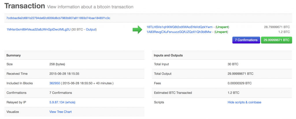 Bitcoin transaction detail